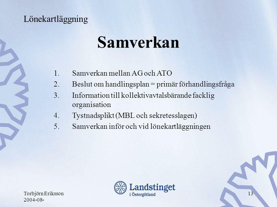 Torbjörn Eriksson 2004-08- 13 Samverkan 1.Samverkan mellan AG och ATO 2.Beslut om handlingsplan = primär förhandlingsfråga 3.Information till kollekti