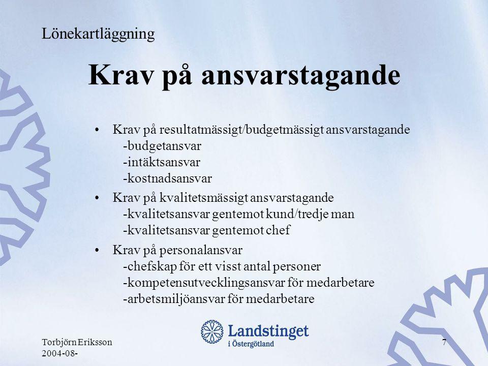 Torbjörn Eriksson 2004-08- 7 Krav på ansvarstagande •Krav på resultatmässigt/budgetmässigt ansvarstagande -budgetansvar -intäktsansvar -kostnadsansvar