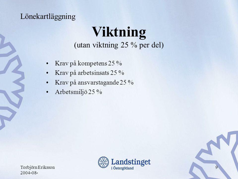 Torbjörn Eriksson 2004-08- 9 Viktning (utan viktning 25 % per del) •Krav på kompetens 25 % •Krav på arbetsinsats 25 % •Krav på ansvarstagande 25 % •Ar