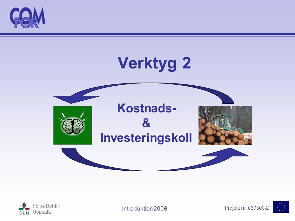 Projekt nr. 030300-2 Folke Bohlin Uppsala Introduktion 2009 Verktyg 2 Kostnads- & Investeringskoll
