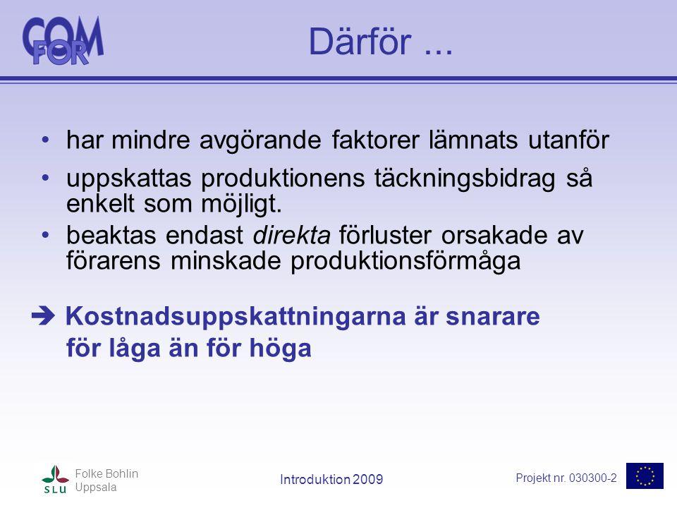 Projekt nr. 030300-2 Folke Bohlin Uppsala Introduktion 2009 Därför... •har mindre avgörande faktorer lämnats utanför •uppskattas produktionens täcknin