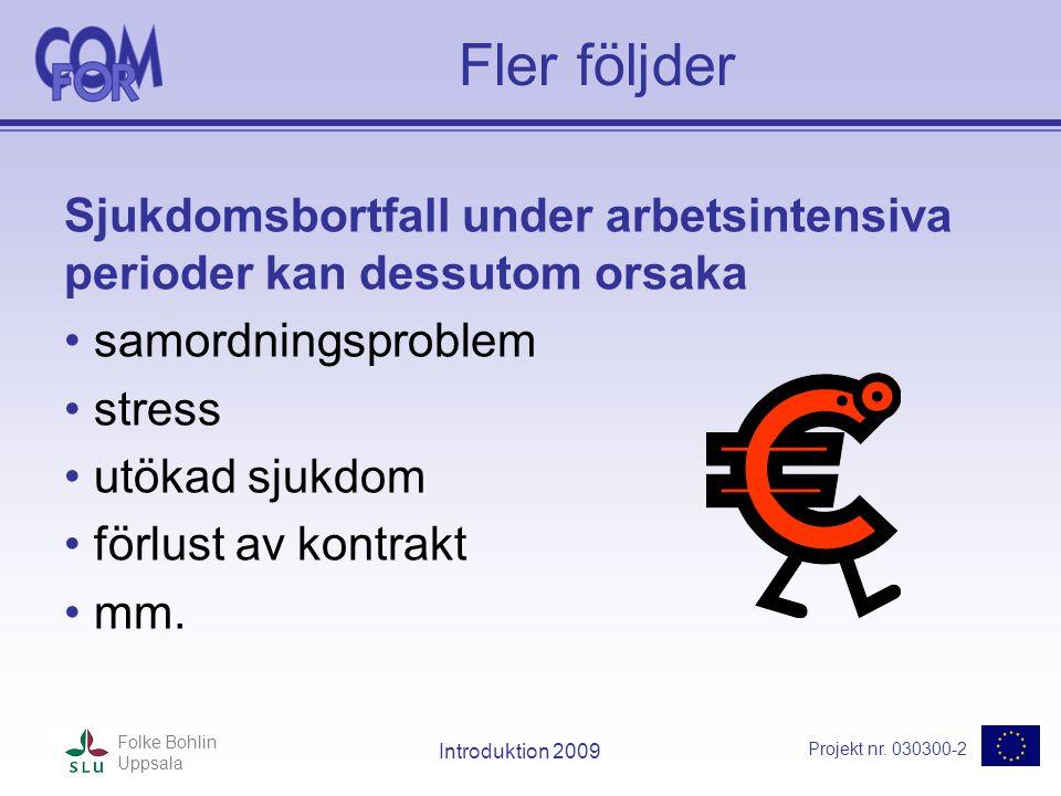 Projekt nr. 030300-2 Folke Bohlin Uppsala Introduktion 2009 Fler följder Sjukdomsbortfall under arbetsintensiva perioder kan dessutom orsaka • samordn