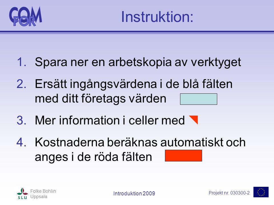 Projekt nr. 030300-2 Folke Bohlin Uppsala Introduktion 2009 Instruktion: 1.Spara ner en arbetskopia av verktyget 2.Ersätt ingångsvärdena i de blå fält
