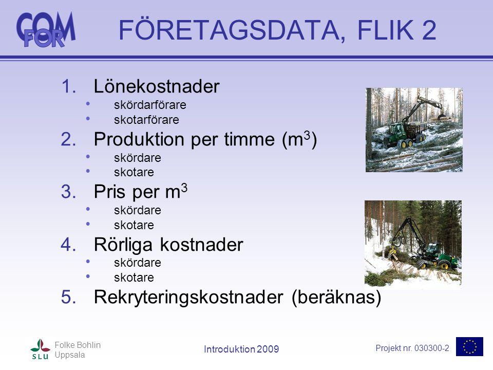 Projekt nr. 030300-2 Folke Bohlin Uppsala Introduktion 2009 FÖRETAGSDATA, FLIK 2 1.Lönekostnader • skördarförare • skotarförare 2.Produktion per timme