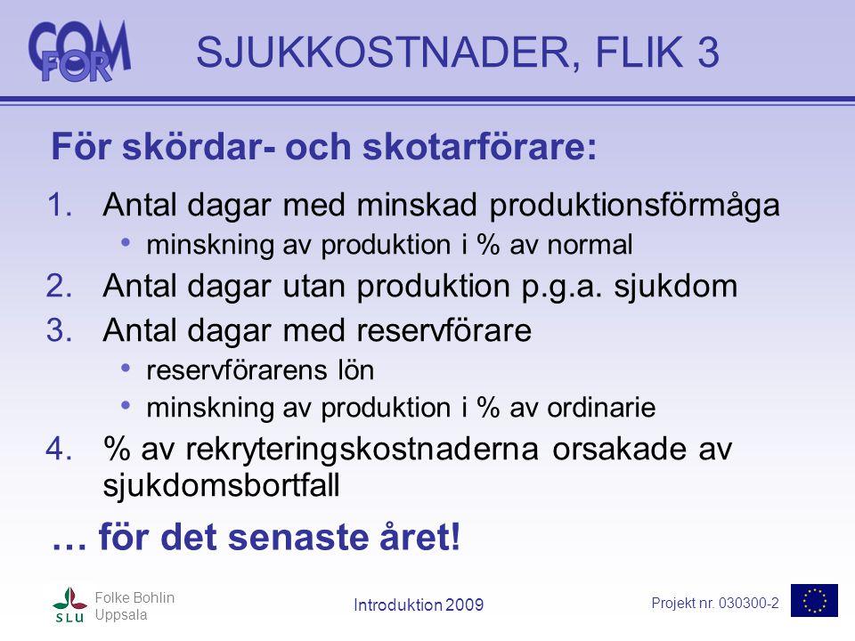 Projekt nr. 030300-2 Folke Bohlin Uppsala Introduktion 2009 SJUKKOSTNADER, FLIK 3 1.Antal dagar med minskad produktionsförmåga • minskning av produkti