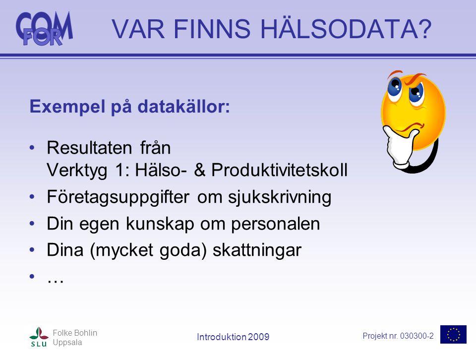 Projekt nr. 030300-2 Folke Bohlin Uppsala Introduktion 2009 VAR FINNS HÄLSODATA? •Resultaten från Verktyg 1: Hälso- & Produktivitetskoll •Företagsuppg
