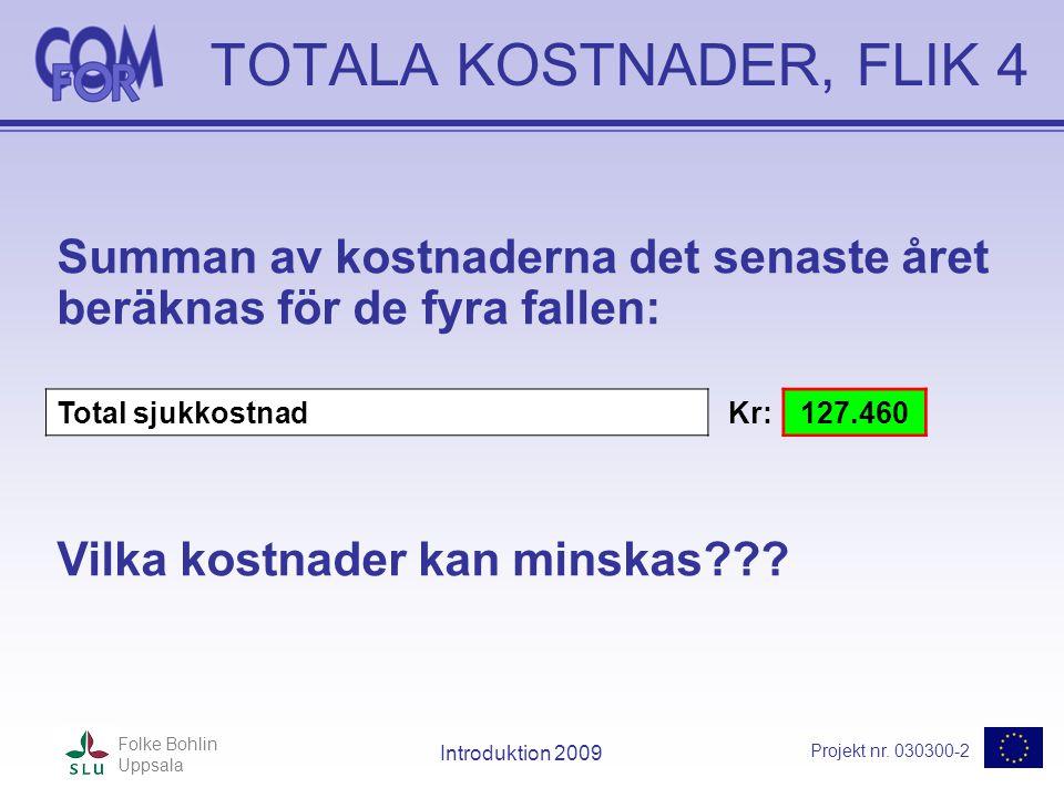 Projekt nr. 030300-2 Folke Bohlin Uppsala Introduktion 2009 TOTALA KOSTNADER, FLIK 4 Summan av kostnaderna det senaste året beräknas för de fyra falle