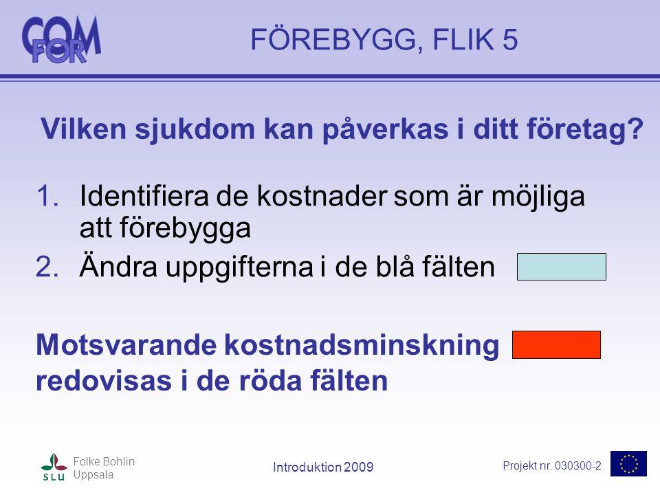 Projekt nr. 030300-2 Folke Bohlin Uppsala Introduktion 2009 FÖREBYGG, FLIK 5 1.Identifiera de kostnader som är möjliga att förebygga 2.Ändra uppgifter