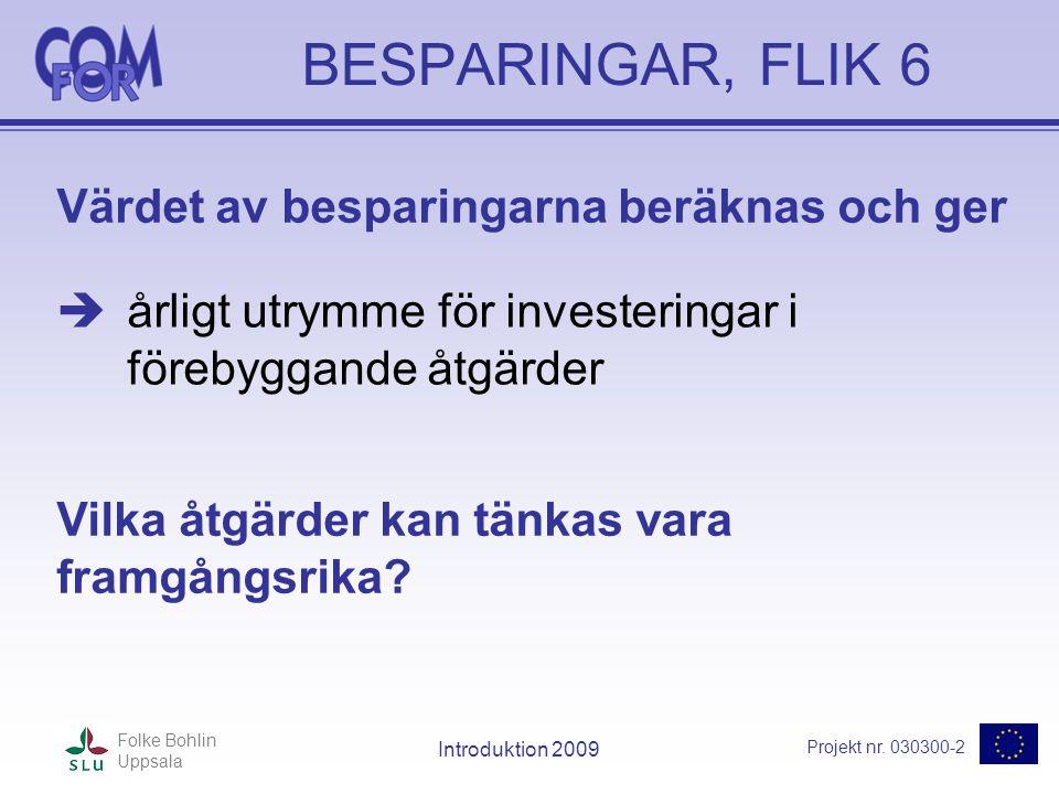 Projekt nr. 030300-2 Folke Bohlin Uppsala Introduktion 2009 BESPARINGAR, FLIK 6  årligt utrymme för investeringar i förebyggande åtgärder Värdet av b