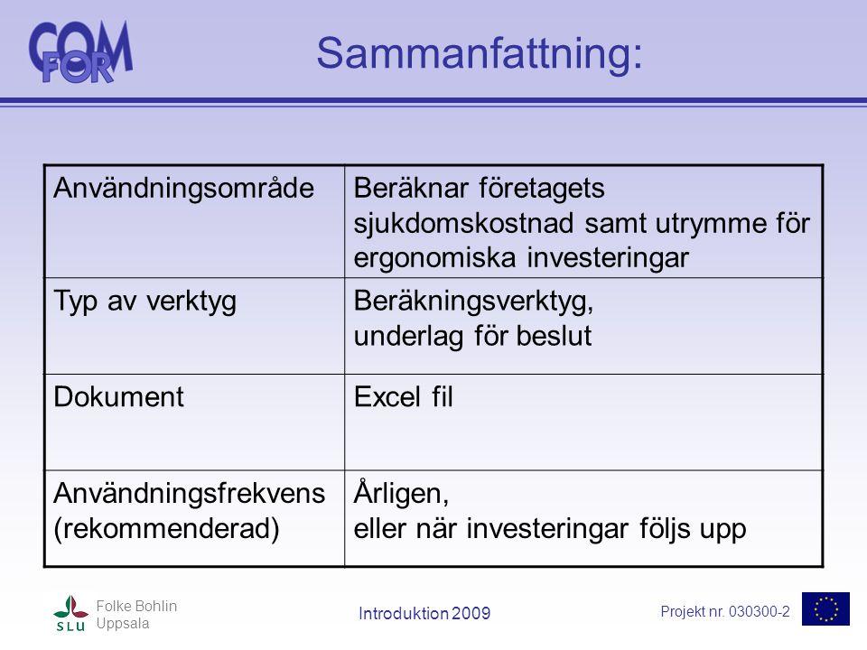 Projekt nr. 030300-2 Folke Bohlin Uppsala Introduktion 2009 Sammanfattning: AnvändningsområdeBeräknar företagets sjukdomskostnad samt utrymme för ergo