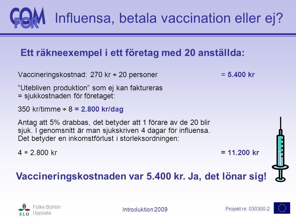 Projekt nr. 030300-2 Folke Bohlin Uppsala Introduktion 2009 Influensa, betala vaccination eller ej? Vaccineringskostnad: 270 kr  20 personer = 5.400