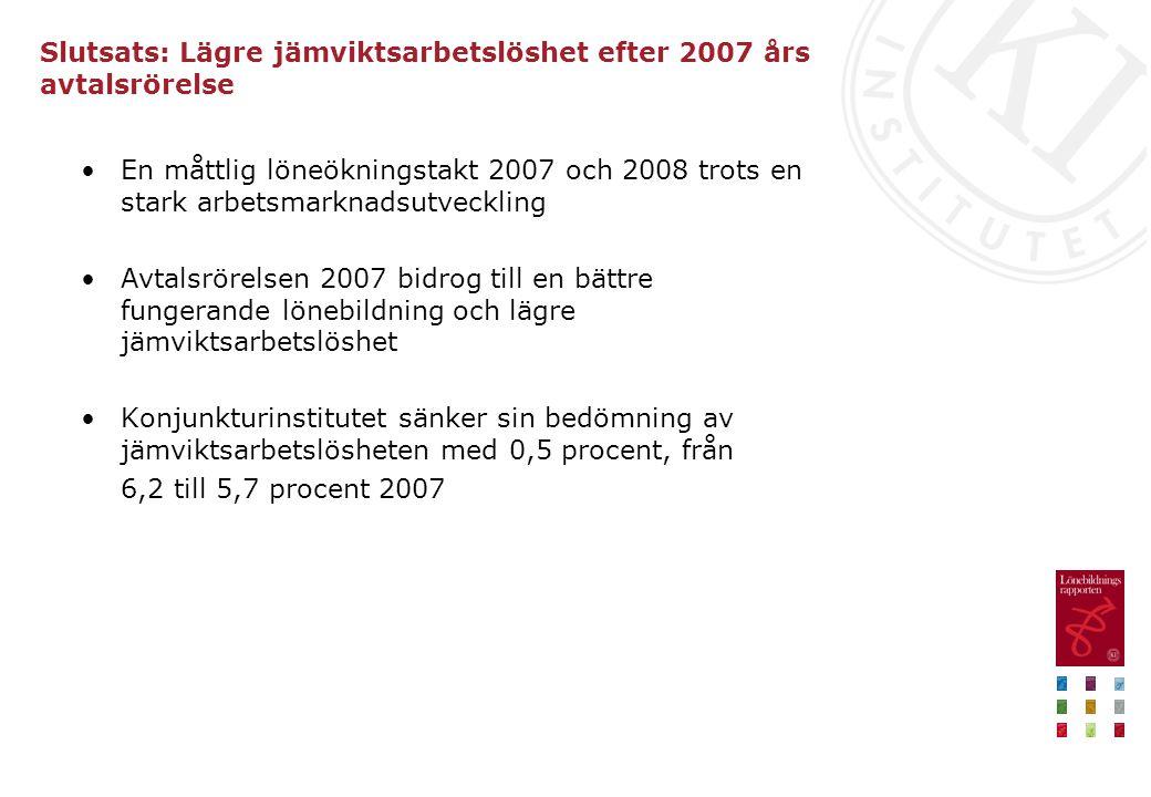 Slutsats: Lägre jämviktsarbetslöshet efter 2007 års avtalsrörelse •En måttlig löneökningstakt 2007 och 2008 trots en stark arbetsmarknadsutveckling •A