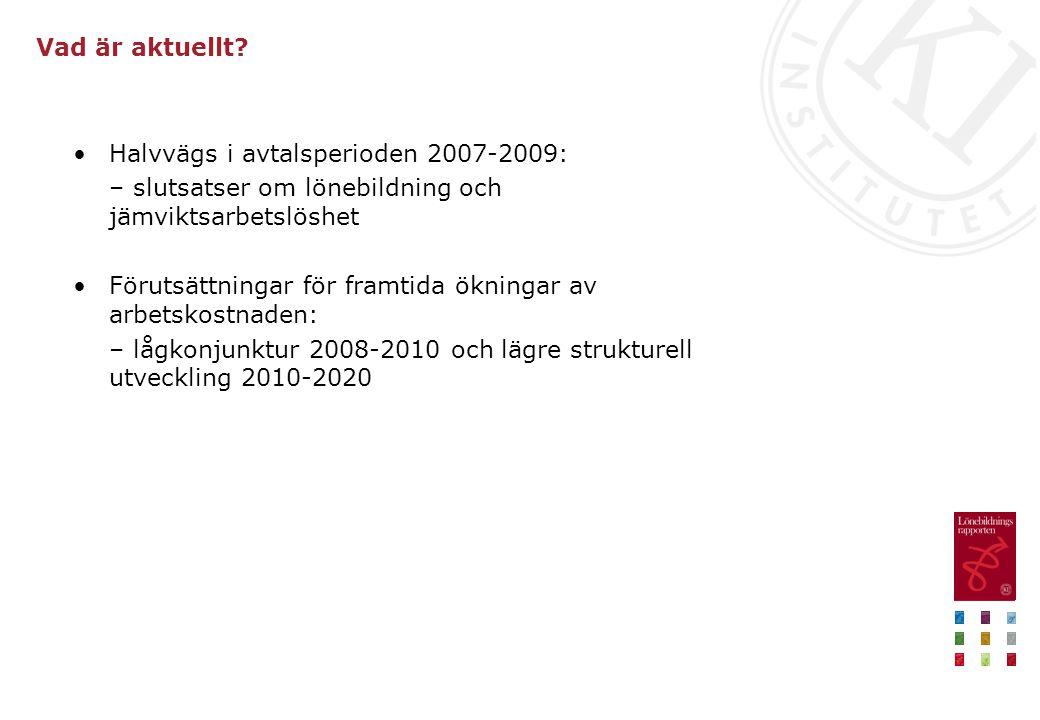Vad är aktuellt? •Halvvägs i avtalsperioden 2007-2009: – slutsatser om lönebildning och jämviktsarbetslöshet •Förutsättningar för framtida ökningar av