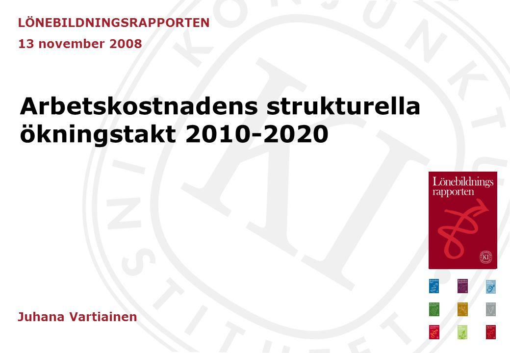 Arbetskostnadens strukturella ökningstakt 2010-2020 LÖNEBILDNINGSRAPPORTEN 13 november 2008 Juhana Vartiainen