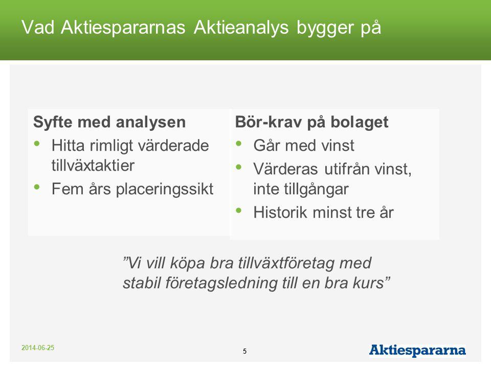 2014-06-25 5 Vad Aktiespararnas Aktieanalys bygger på Syfte med analysen • Hitta rimligt värderade tillväxtaktier • Fem års placeringssikt Bör-krav på