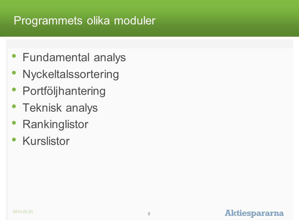2014-06-25 8 Programmets olika moduler • Fundamental analys • Nyckeltalssortering • Portföljhantering • Teknisk analys • Rankinglistor • Kurslistor