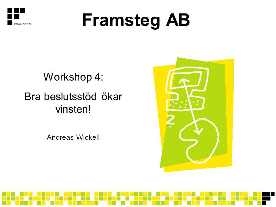 Framsteg AB Workshop 4: Bra beslutsstöd ökar vinsten! Andreas Wickell