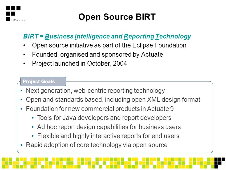 Actuate BIRT Report Technology Family Actuate BusinessReport / BIRT Report Interactive Viewer Web tool for exploring and manipulating report documents Answer ad hoc business questions without writing a report Actuate BusinessReport Studio Web tool for report creation by business users Simple to use yet powerful template based model Actuate BIRT Report Designer Desktop tool for report developers and power users Easier to use; can leverage components created in Pro Actuate BIRT Report Designer Pro Desktop tool for professional IT developers Full power of scripting in Java; Eclipse IDE; and more