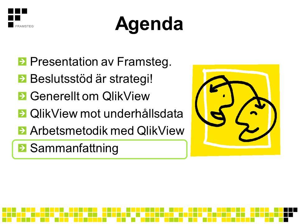 Agenda Presentation av Framsteg. Beslutsstöd är strategi! Generellt om QlikView QlikView mot underhållsdata Arbetsmetodik med QlikView Sammanfattning