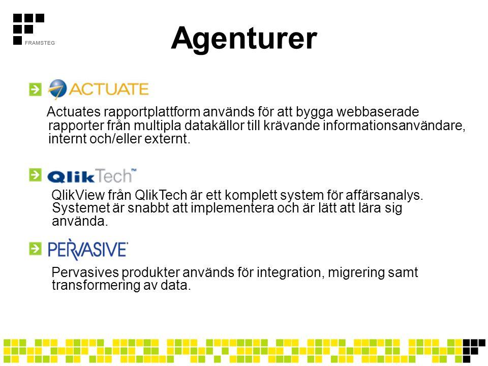 Agenturer Actuates rapportplattform används för att bygga webbaserade rapporter från multipla datakällor till krävande informationsanvändare, internt och/eller externt.