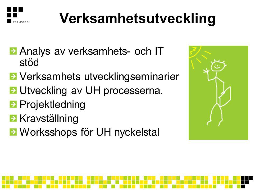 Verksamhetsutveckling Analys av verksamhets- och IT stöd Verksamhets utvecklingseminarier Utveckling av UH processerna. Projektledning Kravställning W