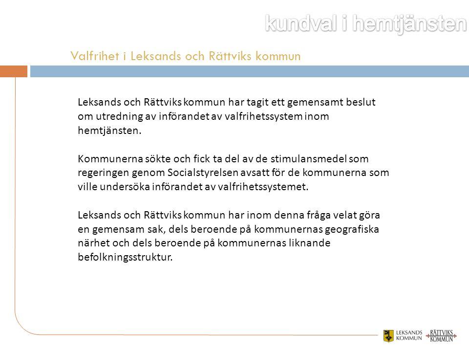Leksands och Rättviks kommun har tagit ett gemensamt beslut om utredning av införandet av valfrihetssystem inom hemtjänsten. Kommunerna sökte och fick