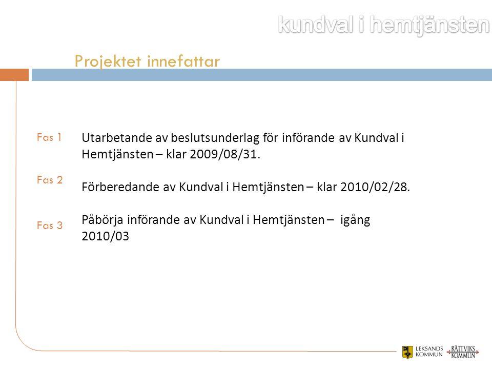 Utarbetande av beslutsunderlag för införande av Kundval i Hemtjänsten – klar 2009/08/31. Förberedande av Kundval i Hemtjänsten – klar 2010/02/28. Påbö