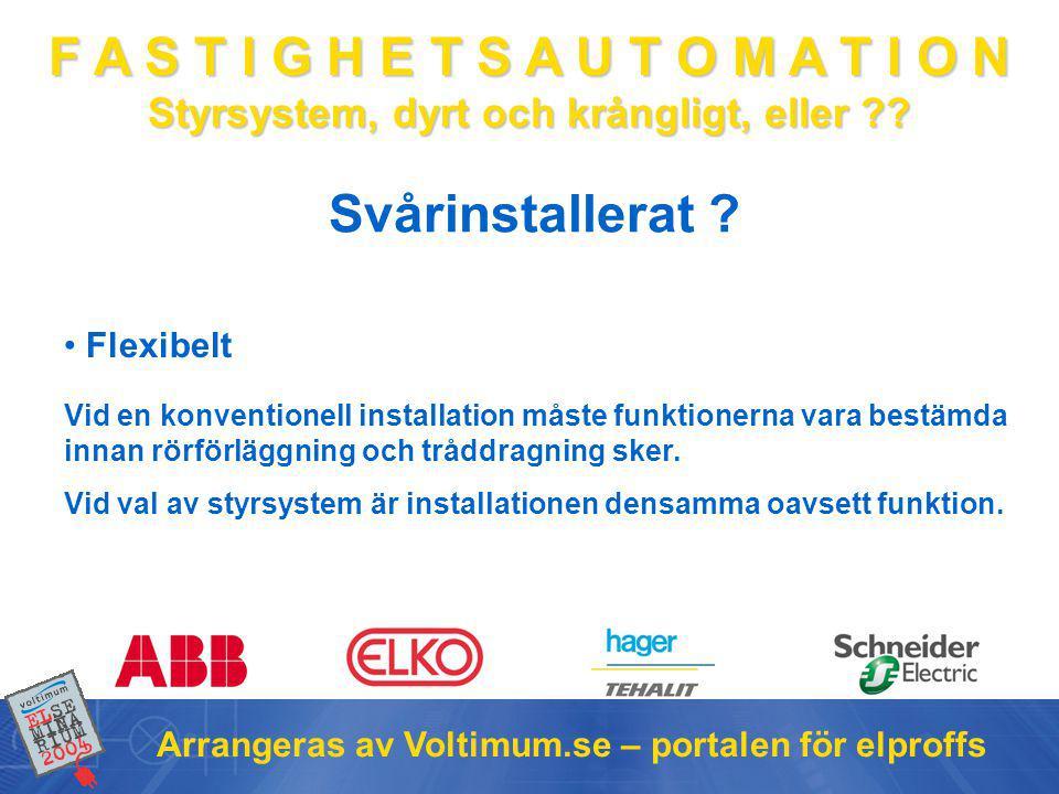 F A S T I G H E T S A U T O M A T I O N Styrsystem, dyrt och krångligt, eller ?? Arrangeras av Voltimum.se – portalen för elproffs Vid en konventionel