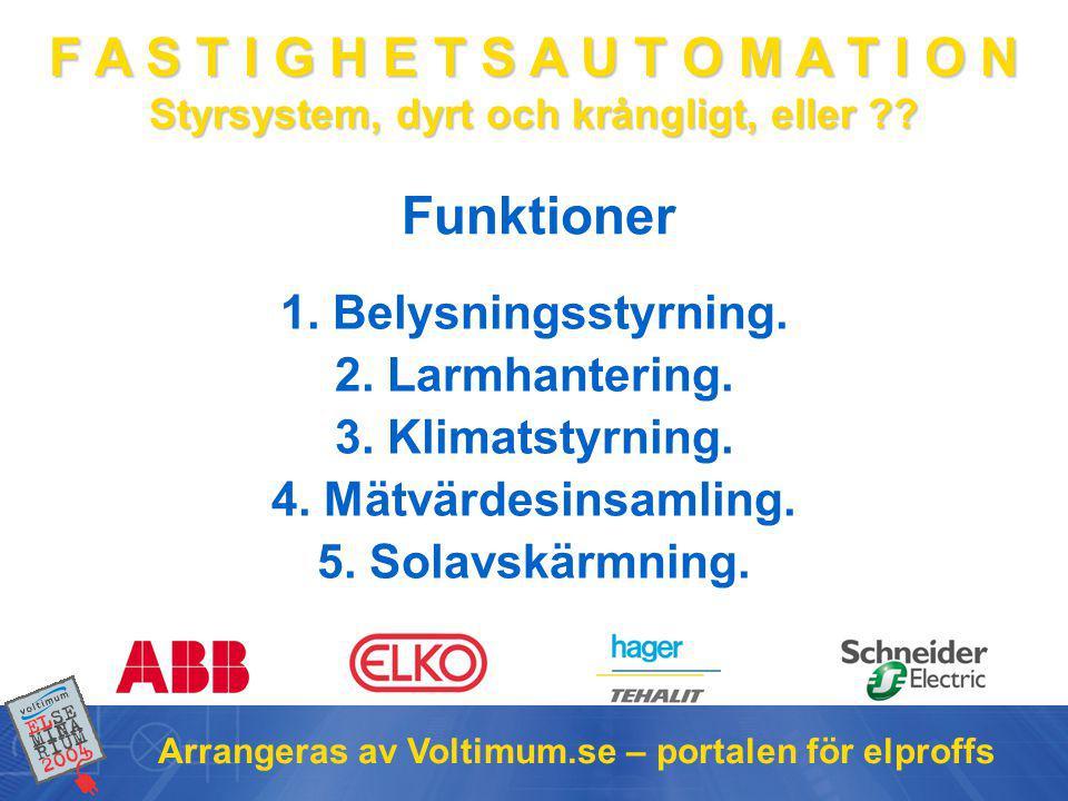 F A S T I G H E T S A U T O M A T I O N Styrsystem, dyrt och krångligt, eller ?? Arrangeras av Voltimum.se – portalen för elproffs Funktioner 1. Belys