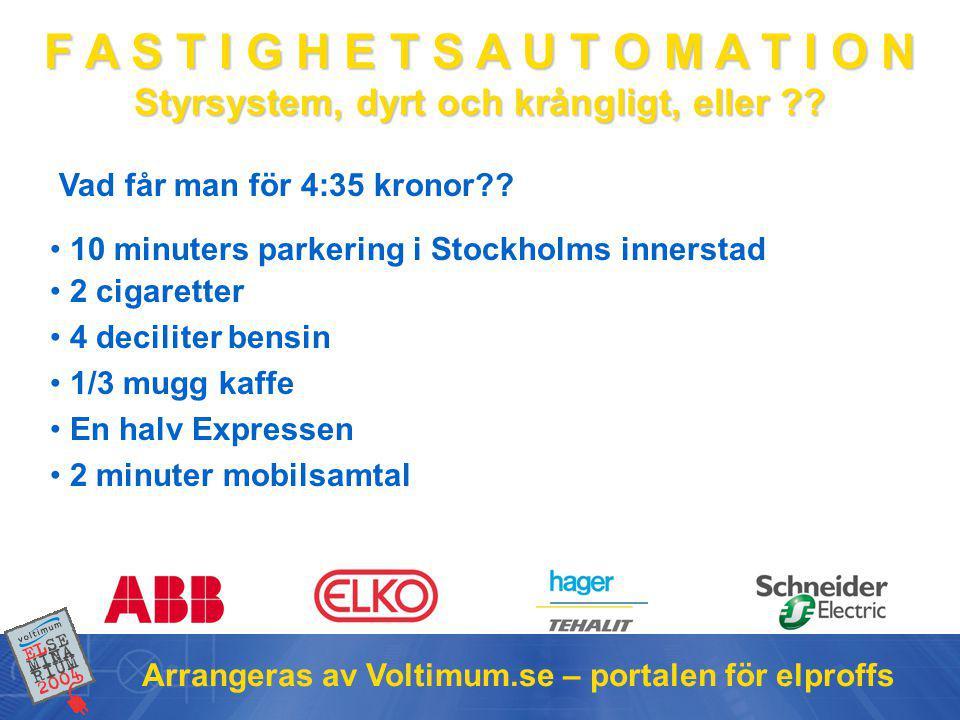 F A S T I G H E T S A U T O M A T I O N Styrsystem, dyrt och krångligt, eller ?? Arrangeras av Voltimum.se – portalen för elproffs • 10 minuters parke