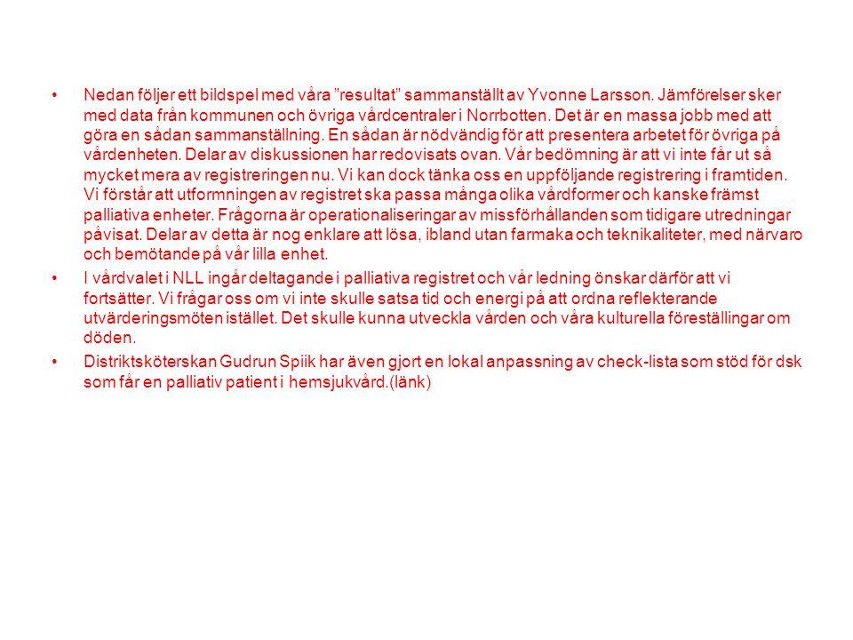 """•Nedan följer ett bildspel med våra """"resultat"""" sammanställt av Yvonne Larsson. Jämförelser sker med data från kommunen och övriga vårdcentraler i Norr"""