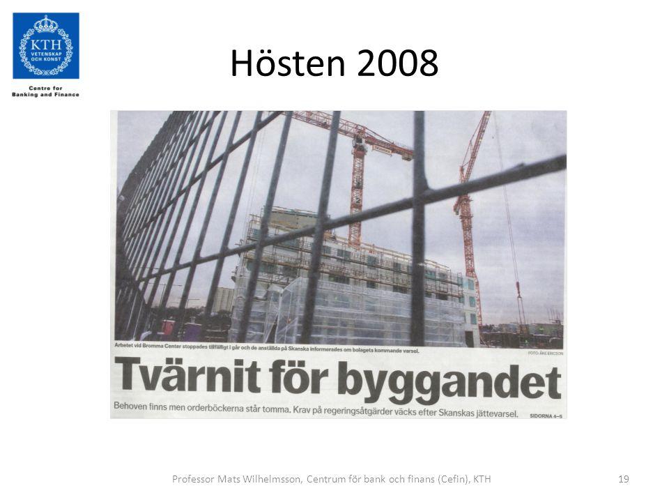 Hösten 2008 Professor Mats Wilhelmsson, Centrum för bank och finans (Cefin), KTH19