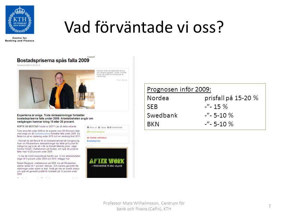 Mats WilhelmssonCentrum för bank och finans, KTH8 Min bedömning i november 2008 •Inkomster+10%   Pris 15%  •Sysselsättningsgrad+5%   Pris 2%  •Befolkning+lika •Räntan-1%   Pris 4%  •Vakanser-lika •Byggande-lika •Skatter-2%   Pris 2%  •Sammanfattning: Priserna faller med 8-13%