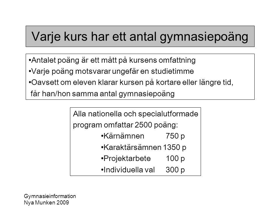 Gymnasieinformation Nya Munken 2009 Varje kurs har ett antal gymnasiepoäng •Antalet poäng är ett mått på kursens omfattning •Varje poäng motsvarar ung