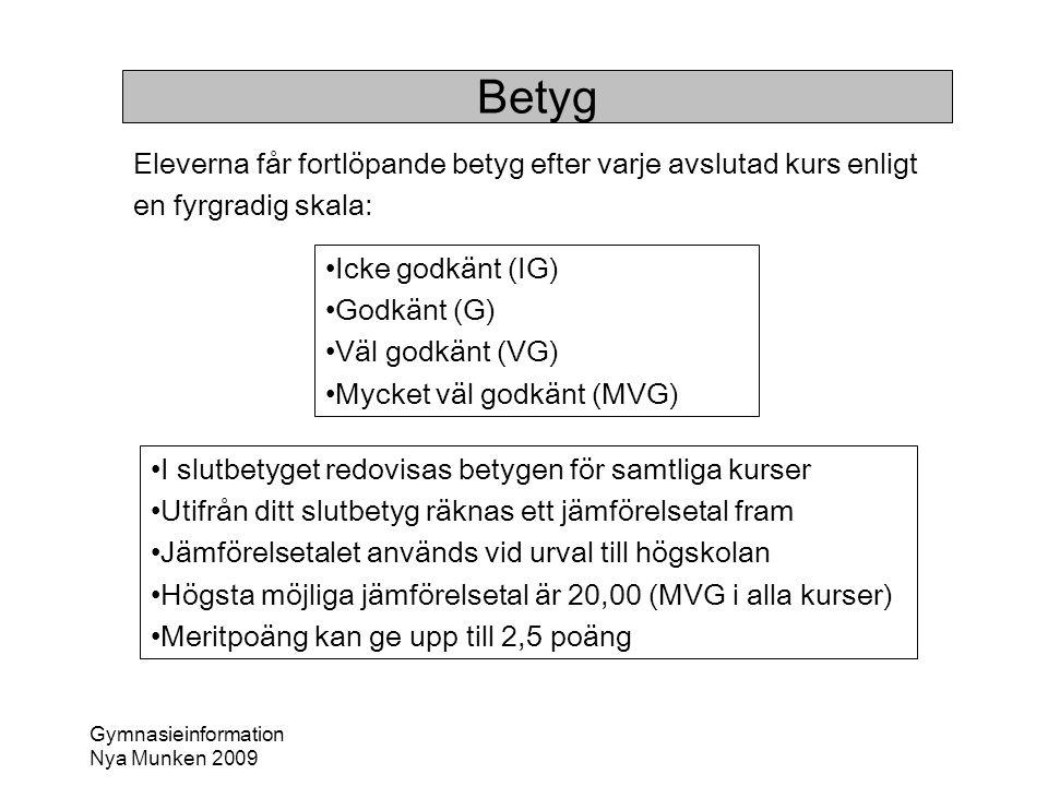 Gymnasieinformation Nya Munken 2009 Betyg Eleverna får fortlöpande betyg efter varje avslutad kurs enligt en fyrgradig skala: •Icke godkänt (IG) •Godk