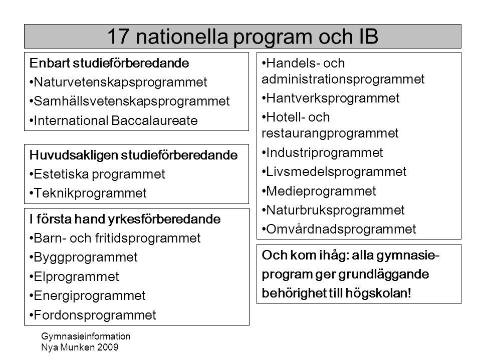 Gymnasieinformation Nya Munken 2009 17 nationella program och IB Enbart studieförberedande •Naturvetenskapsprogrammet •Samhällsvetenskapsprogrammet •I