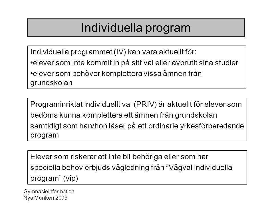 Gymnasieinformation Nya Munken 2009 Individuella program Individuella programmet (IV) kan vara aktuellt för: •elever som inte kommit in på sitt val el