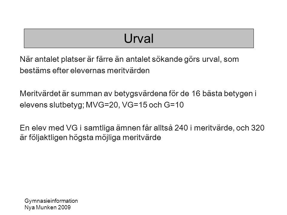 Gymnasieinformation Nya Munken 2009 Urval När antalet platser är färre än antalet sökande görs urval, som bestäms efter elevernas meritvärden Meritvär