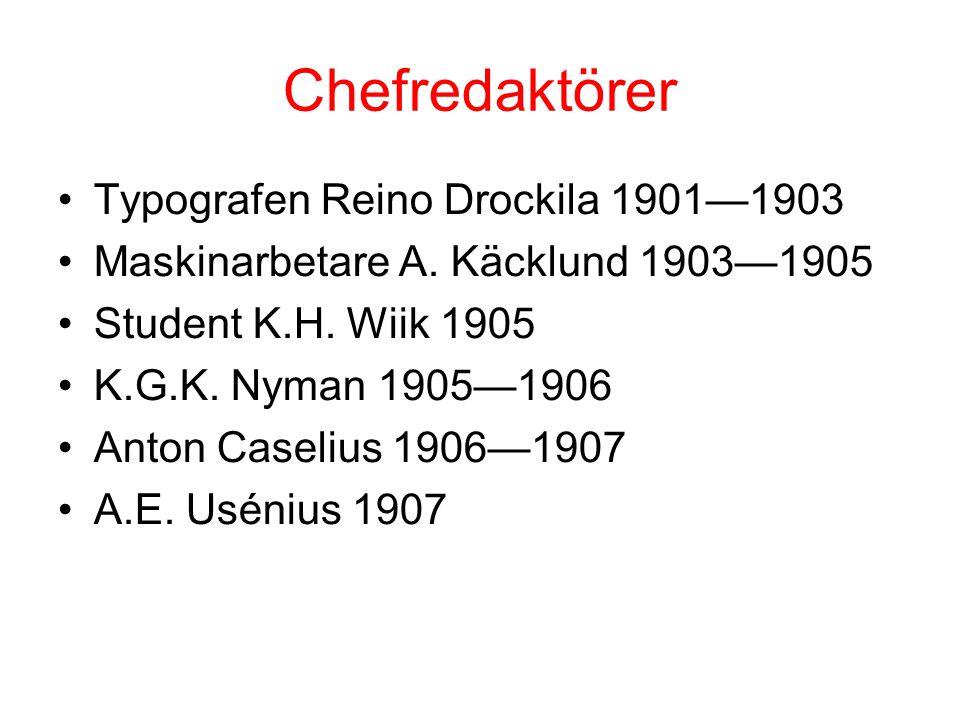 Chefredaktörer •Typografen Reino Drockila 1901—1903 •Maskinarbetare A. Käcklund 1903—1905 •Student K.H. Wiik 1905 •K.G.K. Nyman 1905—1906 •Anton Casel