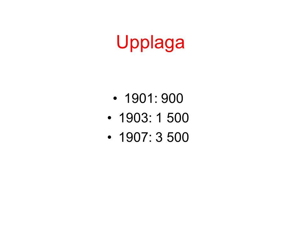 Upplaga •1901: 900 •1903: 1 500 •1907: 3 500