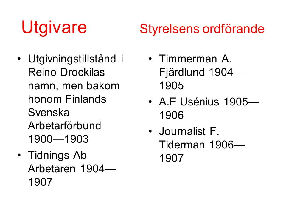 Utgivare Styrelsens ordförande •Utgivningstillstånd i Reino Drockilas namn, men bakom honom Finlands Svenska Arbetarförbund 1900—1903 •Tidnings Ab Arb
