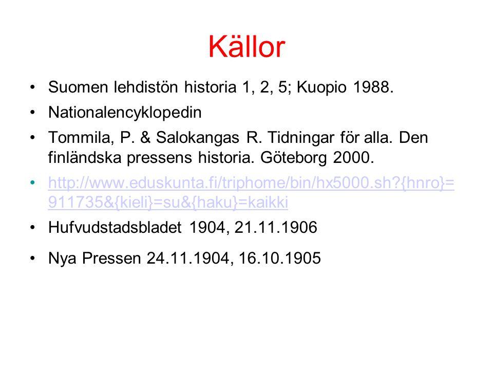 Källor •Suomen lehdistön historia 1, 2, 5; Kuopio 1988. •Nationalencyklopedin •Tommila, P. & Salokangas R. Tidningar för alla. Den finländska pressens