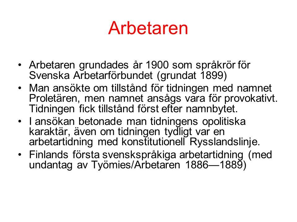 Arbetaren •Arbetaren grundades år 1900 som språkrör för Svenska Arbetarförbundet (grundat 1899) •Man ansökte om tillstånd för tidningen med namnet Pr
