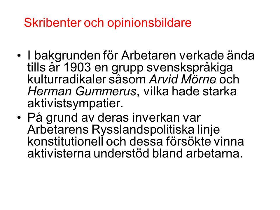 •I bakgrunden för Arbetaren verkade ända tills år 1903 en grupp svenskspråkiga kulturradikaler såsom Arvid Mörne och Herman Gummerus, vilka hade stark