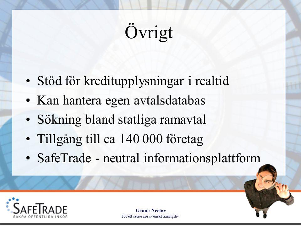 Genua Nector för ett seriösare svenskt näringsliv Övrigt •Stöd för kreditupplysningar i realtid •Kan hantera egen avtalsdatabas •Sökning bland statliga ramavtal •Tillgång till ca 140 000 företag •SafeTrade - neutral informationsplattform