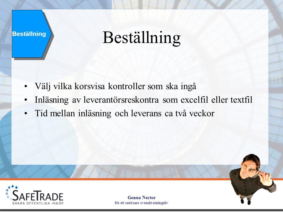 Genua Nector för ett seriösare svenskt näringsliv Beställning •Välj vilka korsvisa kontroller som ska ingå •Inläsning av leverantörsreskontra som excelfil eller textfil •Tid mellan inläsning och leverans ca två veckor Beställning