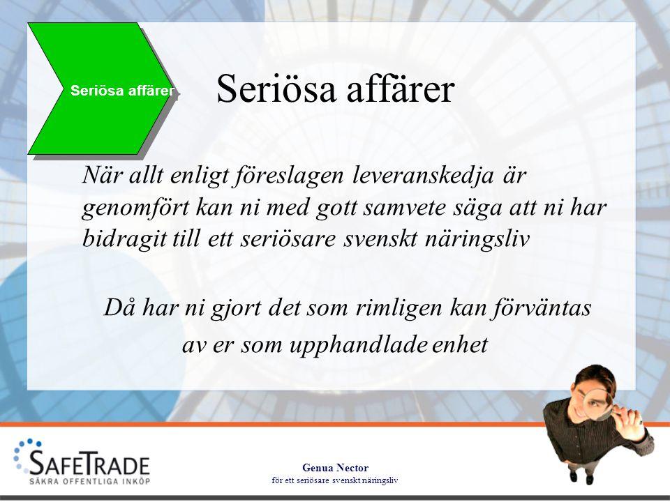 Genua Nector för ett seriösare svenskt näringsliv Seriösa affärer När allt enligt föreslagen leveranskedja är genomfört kan ni med gott samvete säga att ni har bidragit till ett seriösare svenskt näringsliv Då har ni gjort det som rimligen kan förväntas av er som upphandlade enhet