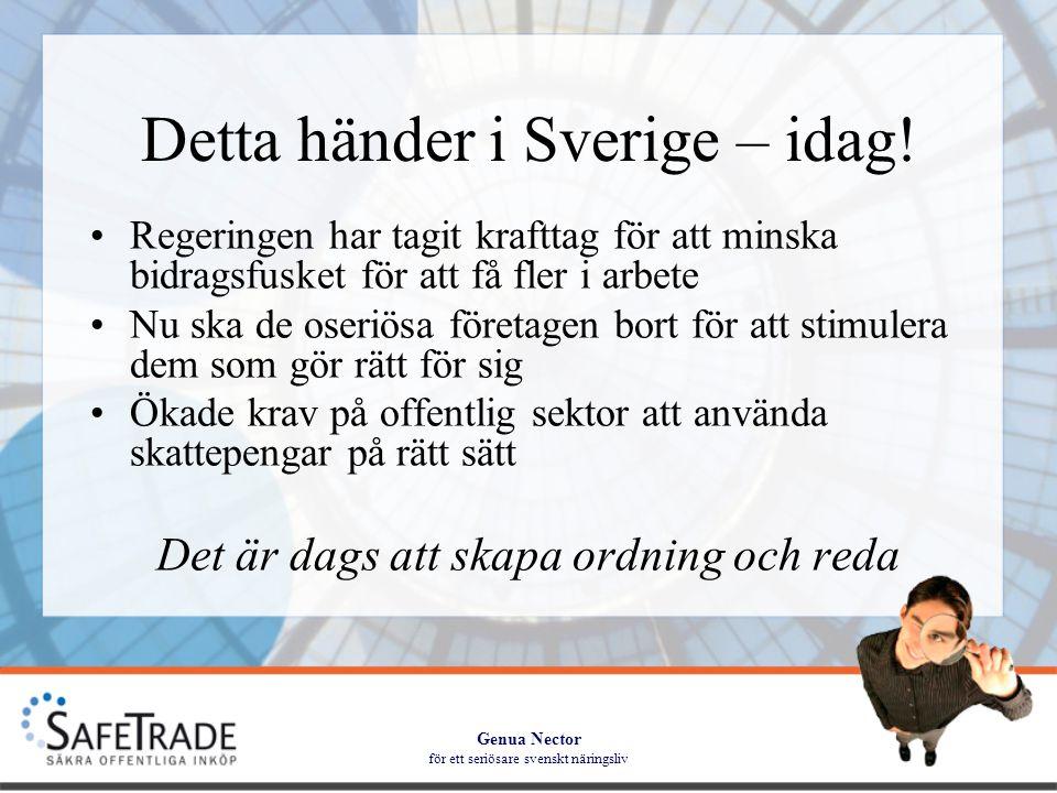 Genua Nector för ett seriösare svenskt näringsliv Leveransflöde Beställning Leverans Policy Analys Seriösa affärer Två veckor HalvdagTvå veckor BehovAlltid Utbildning Halvdag Årsabonnemang Beställning utifrån behov