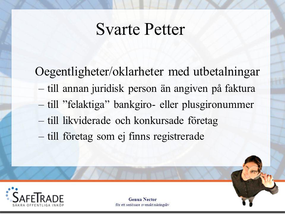 Genua Nector för ett seriösare svenskt näringsliv Svarte Petter Synliggör vilka leverantörer som; –inte är registrerade som arbetsgivare –inte är momsregistrerade –inte har aktuell F-skattsedel –har ett skuldsaldo hos Kronofogden