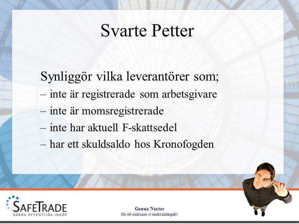 Genua Nector för ett seriösare svenskt näringsliv Utbildning Utbildningen sker som två delmoment; –Moment ett beskriver och tar upp organisationens policy och syfte med att använda SafeTrade –Moment två är inriktat mot praktiskt handhavande för leverantörskontroll Utbildning